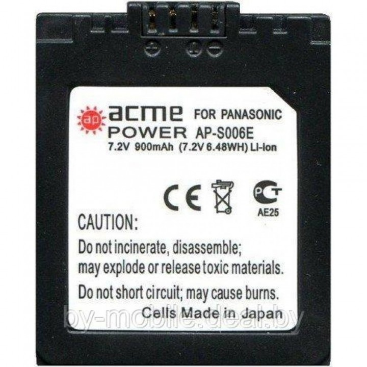 АКБ (Аккумуляторная батарея) для цифровых фотоаппаратов Panasonic CGR-S001 (CGA-S001E, DMW-BCA7, PV-DC3000)