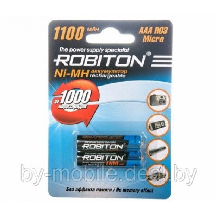 Аккумулятор Robiton 1100 mAh ААА NiMh тип AAA R03 LR03 (2 шт. в одной упаковке)