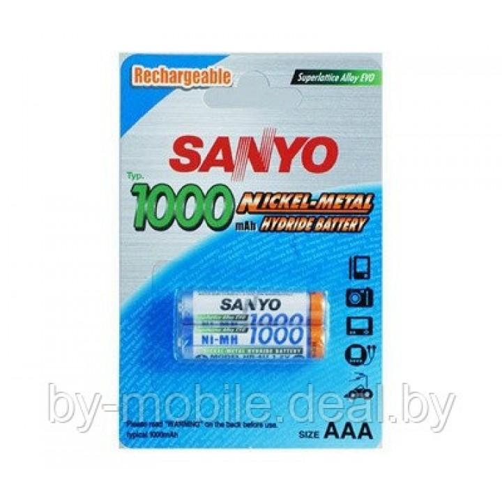 Аккумулятор Sanyo 1000 mAh ААА NiMh тип AAA R03 LR03 (2шт. в одной упаковке)