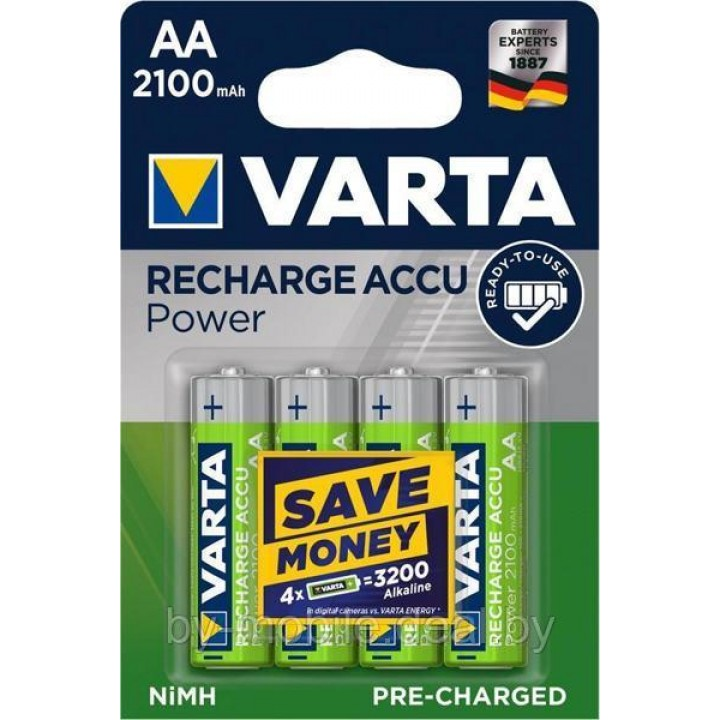 Аккумулятор Varta 2100mAh АА NiMh тип AA R06 LR6 LR06 (4 шт. в одной упаковке)