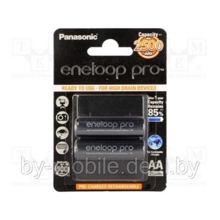 Аккумулятор Panasonic Eneloop Pro 2500mAh АА NiMh тип AA R06 LR6 LR06 (2 шт. в одной упаковке (BK-3HCDE.2BE))