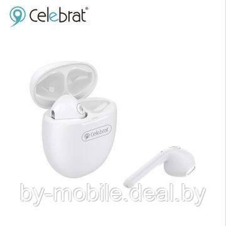 Стерео Bluetooth гарнитура Celebrat TWS-W3 белый