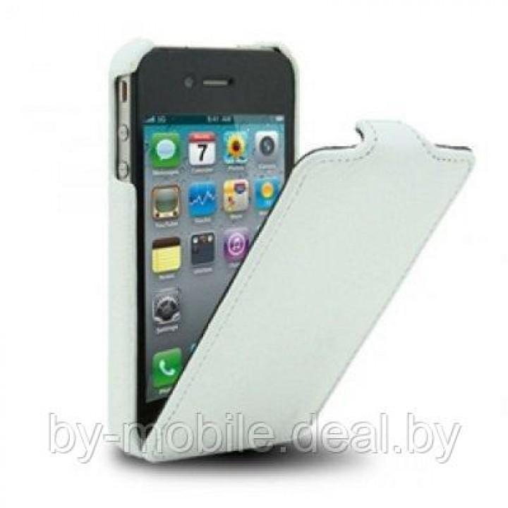 Чехол-книжка кожаный Melkco для Apple iPhone 5 (белый)