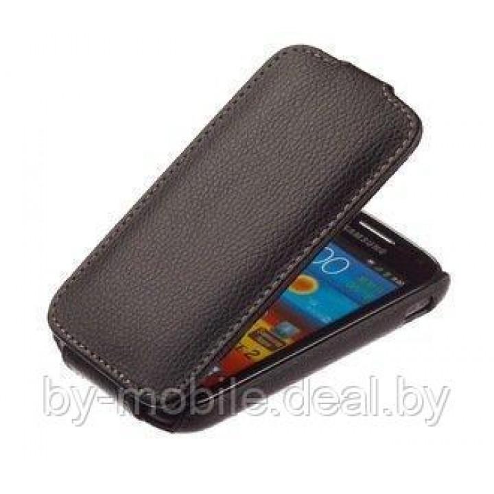 Чехол книжка valenta Samsung i8160 Galaxy Ace 2 чёрный (кожа)