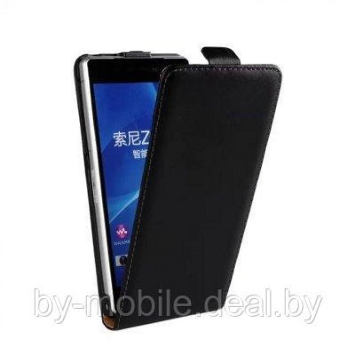 Чехол книжка valenta Sony Xperia Z2 чёрный (кожа)