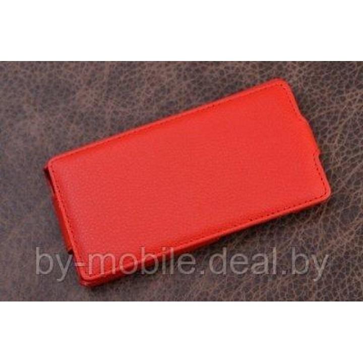 Чехол книжка valenta Huawei Honor 3 красный (кожа Глянец)