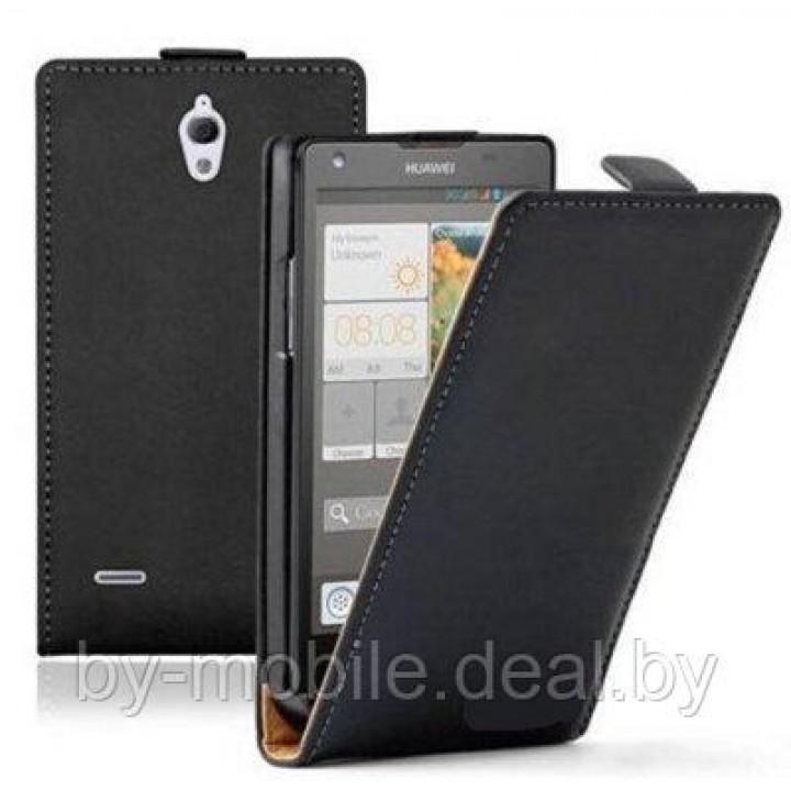 Чехол книжка valenta Huawei Ascend G700 чёрный (кожа Глянец)