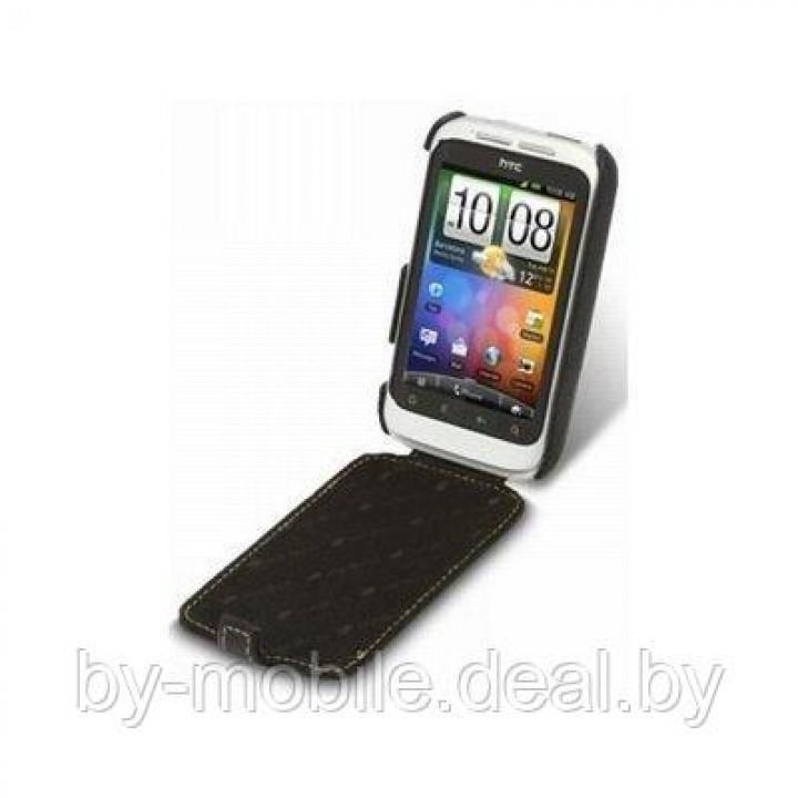Чехол книжка valenta HTC wilgfire S чёрный (кожа)