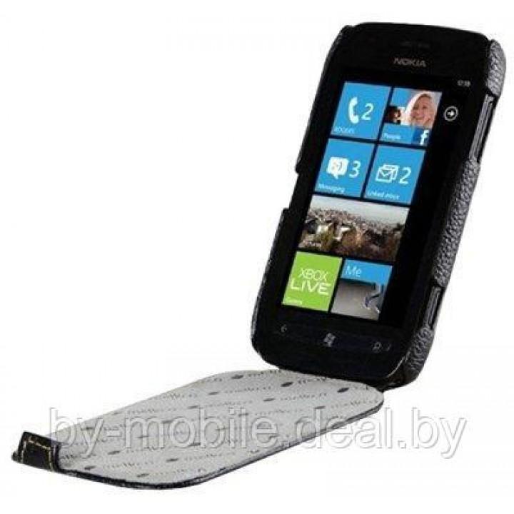 Чехол книжка-флип valenta Nokia Lumia 500 чёрный с967 (кожа)