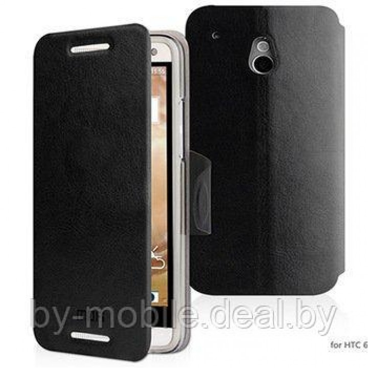 Чехол книжка valenta HTC One mini чёрный с1060 (кожа)