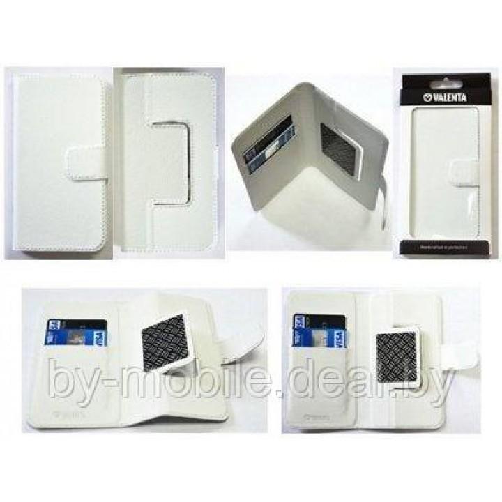 Чехол книжка valenta универсальные XL (80-150мм) Белый (кожа)