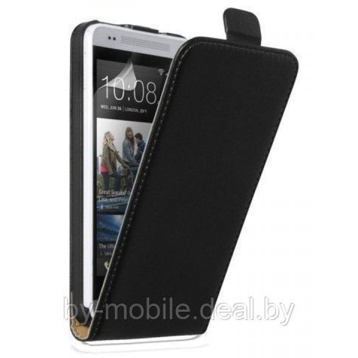 Чехол книжка valenta HTC One (M7) чёрный (кожа)