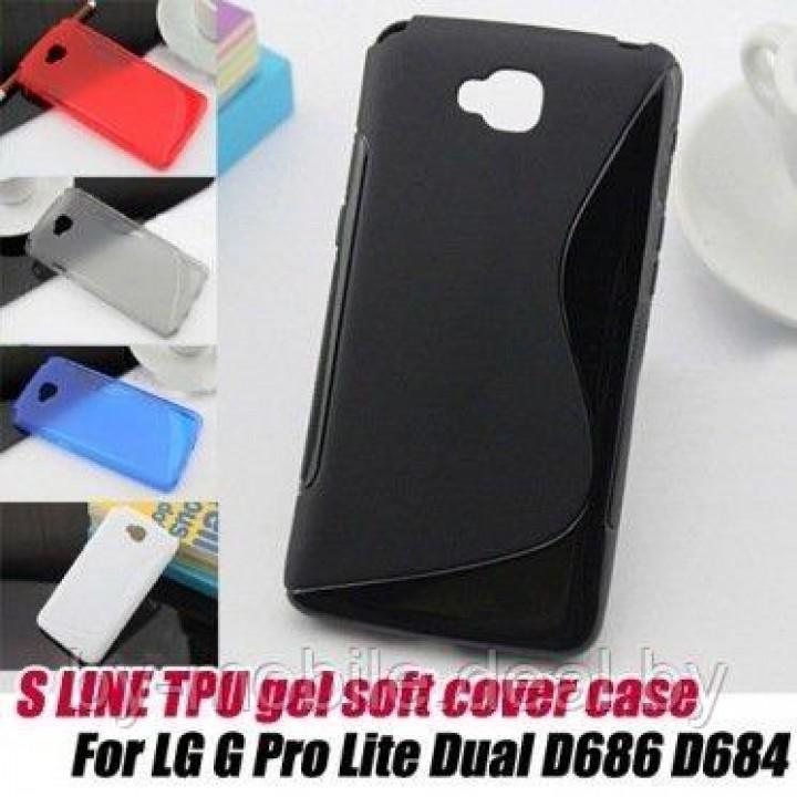 Силиконовый чехол накладка для LG G Pro Lite Dual ( крастный, прозрачный)