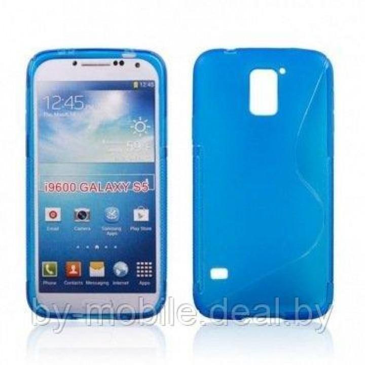 Силиконовый чехол накладка для Samsung I9600 Galaxy S 5 синий